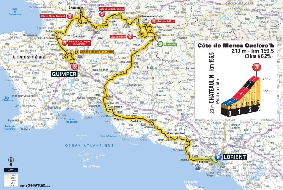 trasa 5. etapu Tour de France 2018