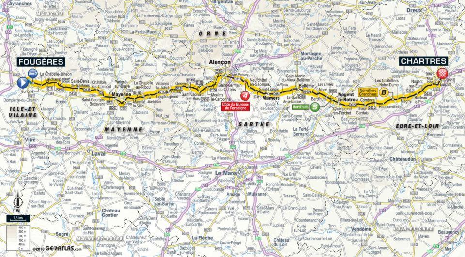 trasa 7. etapu Tour de France 2018