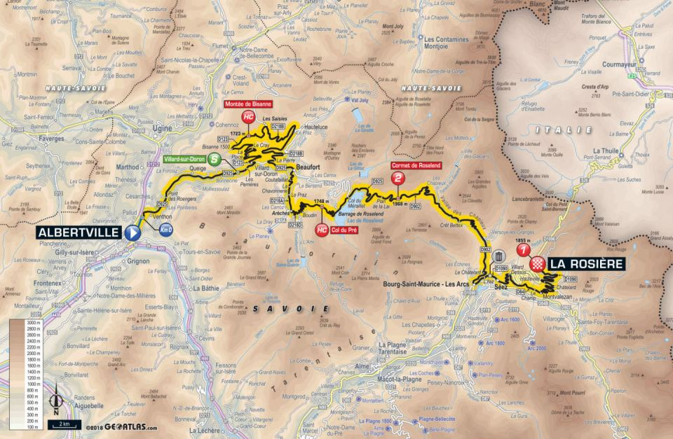 mapa 11. etapu Tour de France 2018
