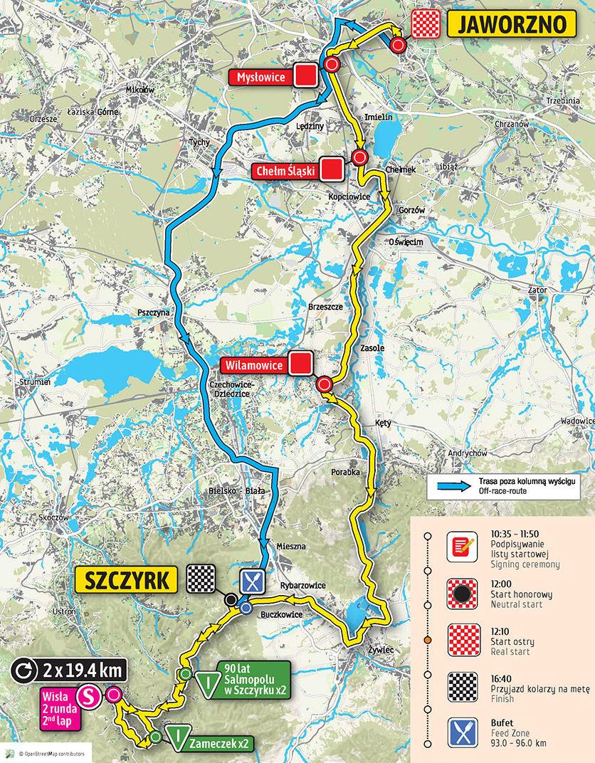 mapa 4. etapu Tour de Pologne 2018