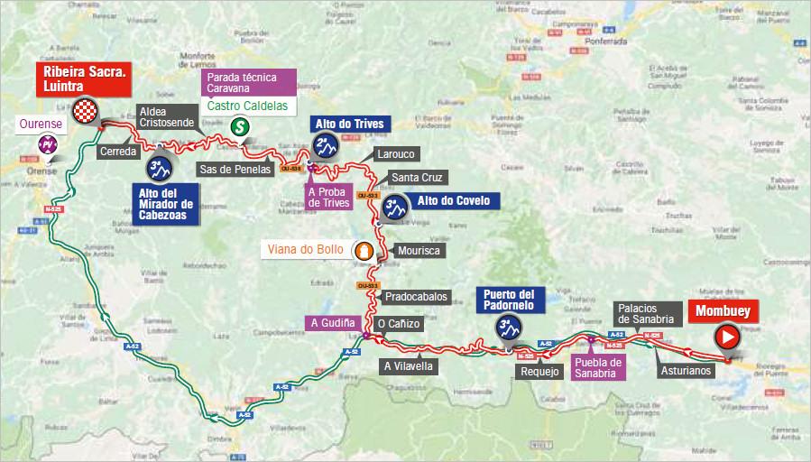 mapka 11. etapu Vuelta a Espana 2018