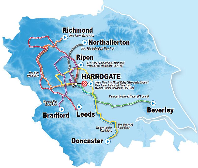 mapa wyścigów kolarskich mistrzostw świata Yorkshire 2019