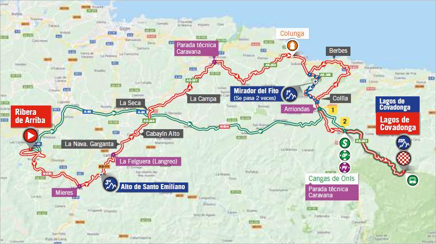 mapka 15. etapu Vuelta a Espana 2018