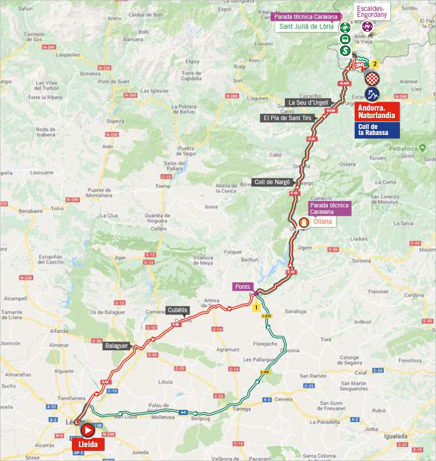 mapka 19. etapu Vuelta a Espana 2018