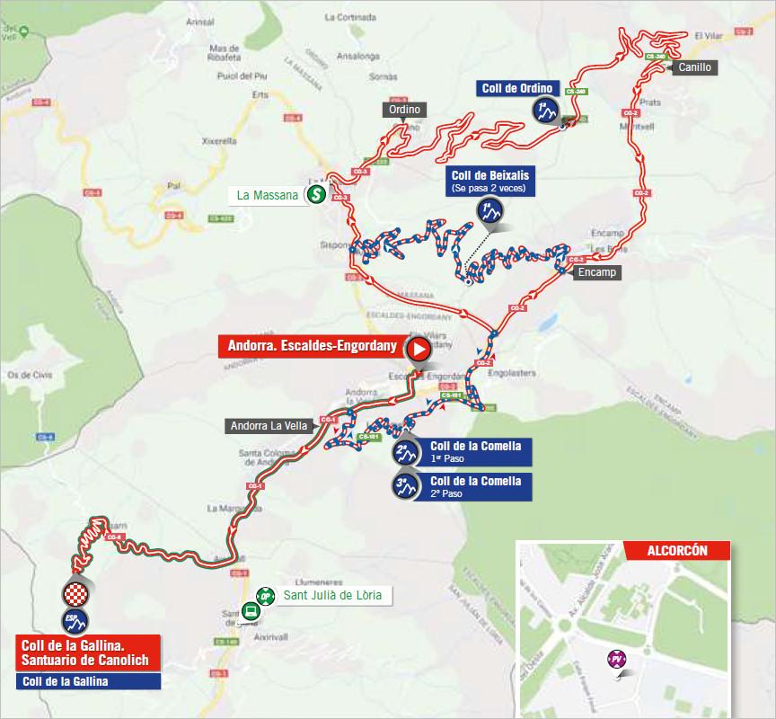 mapka 20. etapu Vuelta a Espana 2018