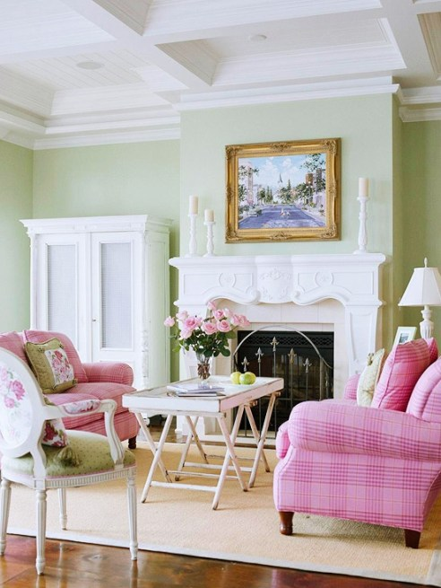 Pink Chairs In Cheerful Green Living Room