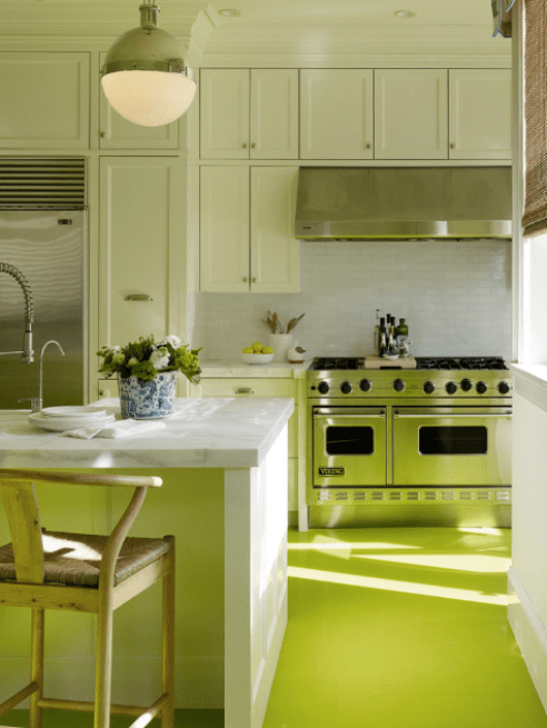 Bright Green Kitchen Floor