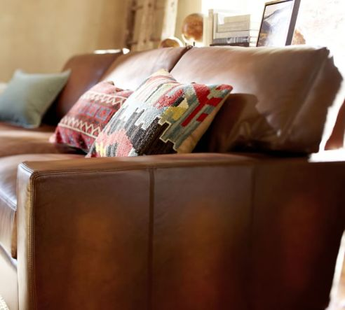 Turner Leather Section in Saddle | Pottery Barn