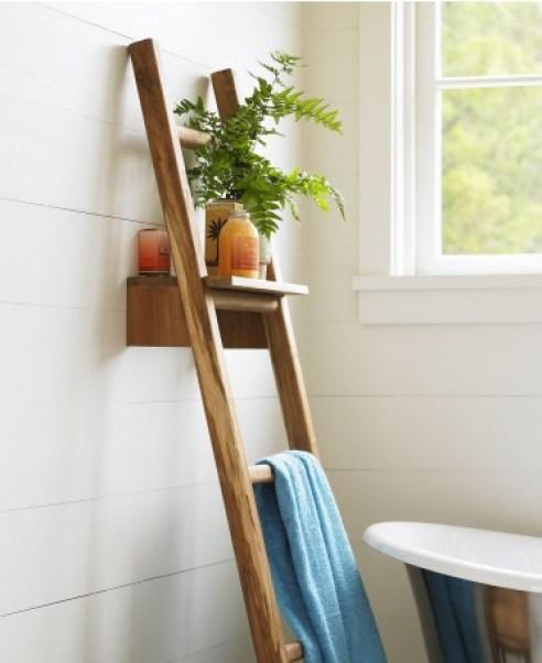 Teak Ladder with Shelf | VivaTerra