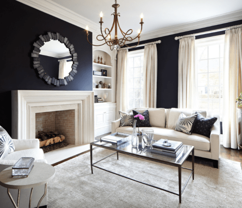 Balance a strong wall colour with light trim, furniture and fabrics.