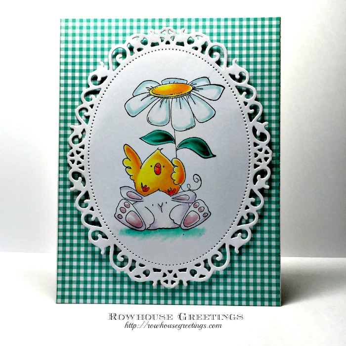 Rowhouse Greeting | Chick and Bunny Wobble by Stampingbella