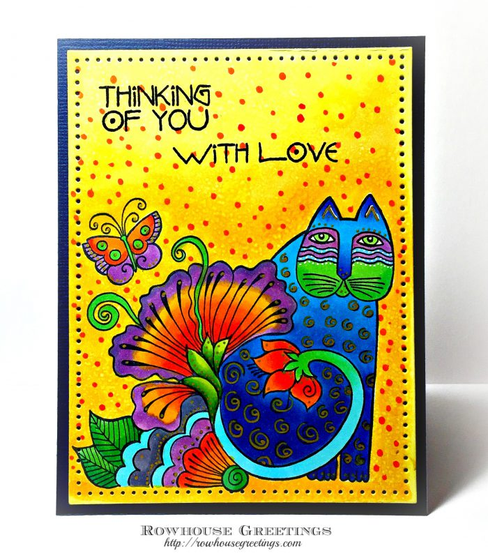 Rowhouse Greetings | Thinking of You | Blossoming Feline by Stampendous