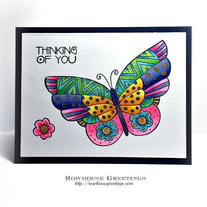 Rowhouse Greetings | Thinking of You | Flutterbye by Stampendous (Laurel Burch)