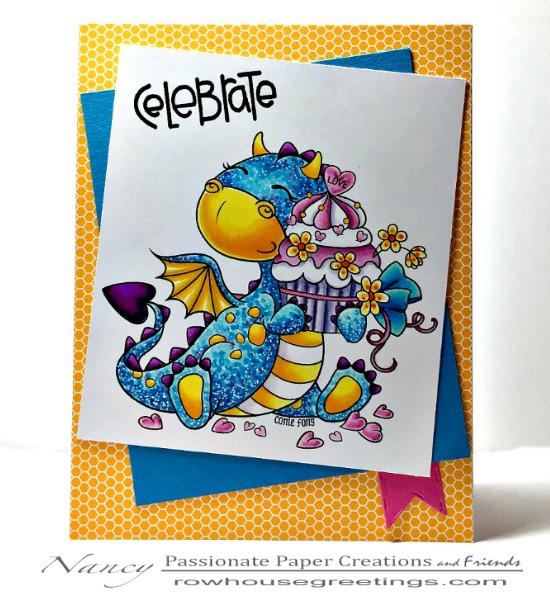Rowhouse Greetings | Birthday | Tori the Dragon with Birthday Cupcake