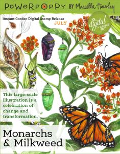 Power Poppy Monarchs and Milkweed Digital Stamp