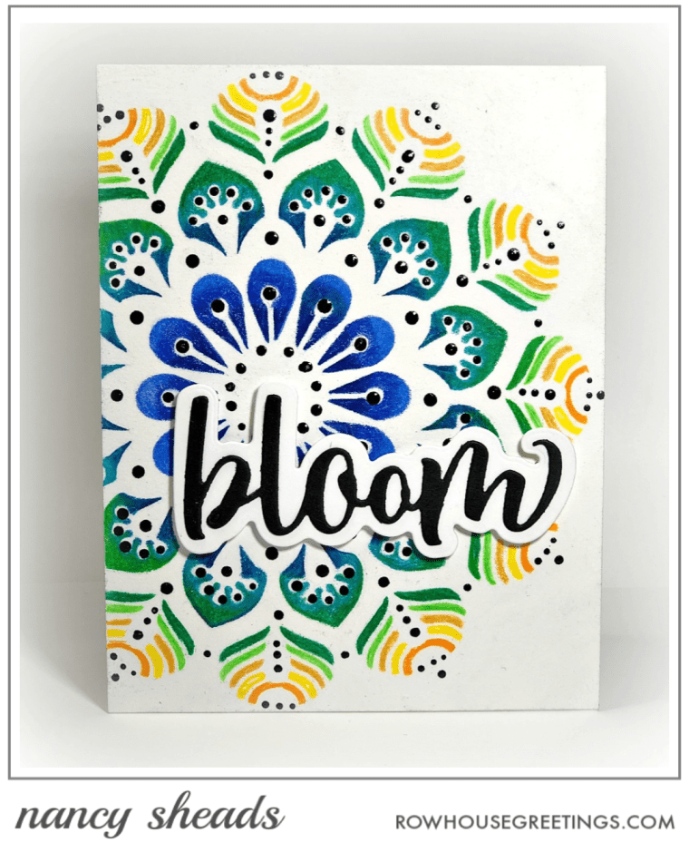 Rowhouse Greetings | Peacock Mandala Stencil by Picket Fence Studios
