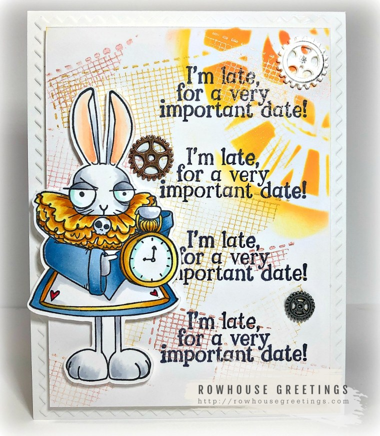 Rowhouse Greetings | Oddball White Rabbit (Alice in Wonderland Collection) by Stamping Bella