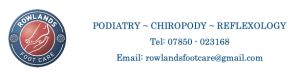 Rowlands Foot Care of Cambourne podiatry chiropody reflexology