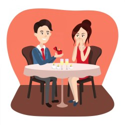 cartoon proposal marriage considering vector illustration fancy rowling dinner propose makes guy associates woman