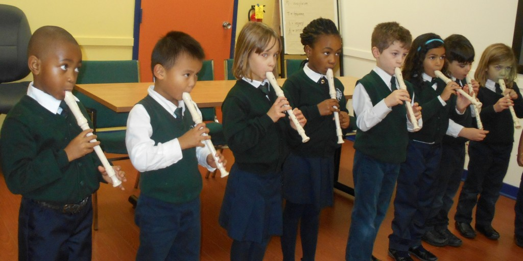 "Students performing ""Walking in a Winter Wonderland"" on the recorder"