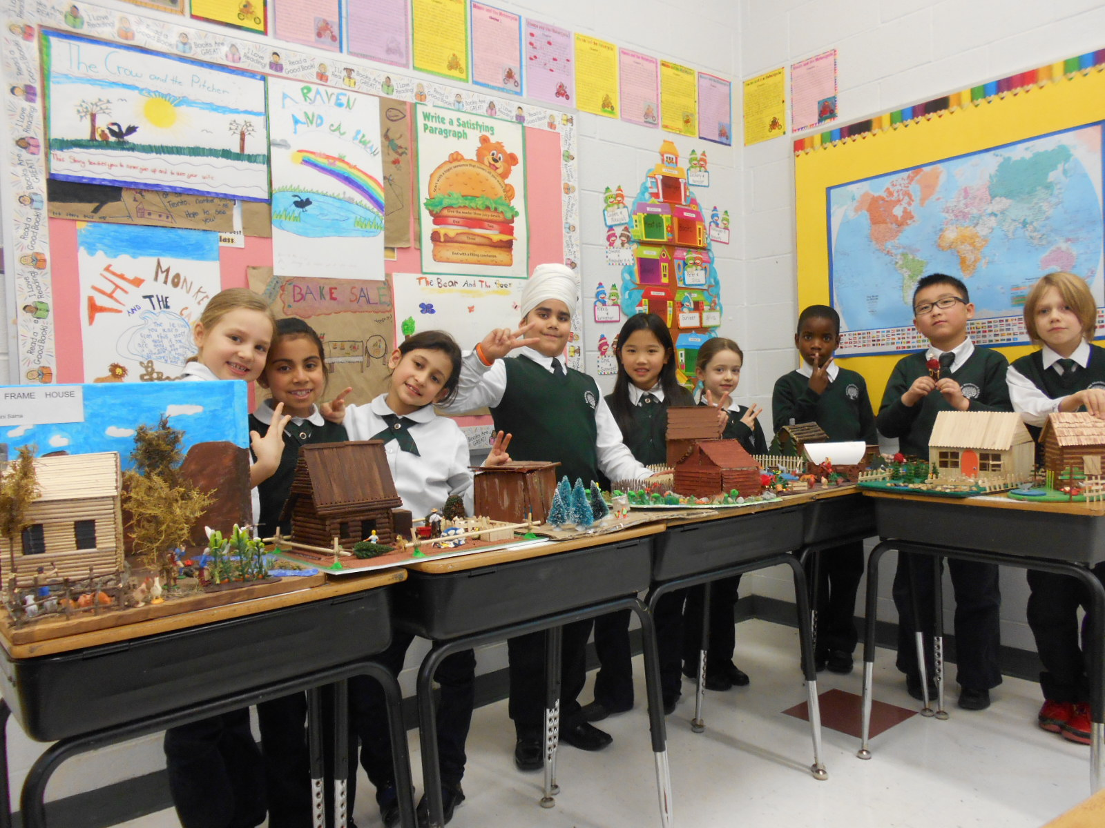 Grade 3A's finished projects displayed all together in class