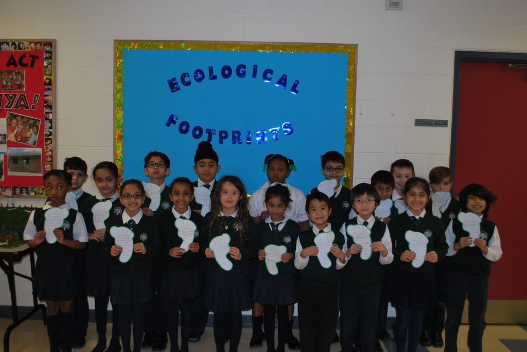 The students in Grade 2 investigating their ecological footprint