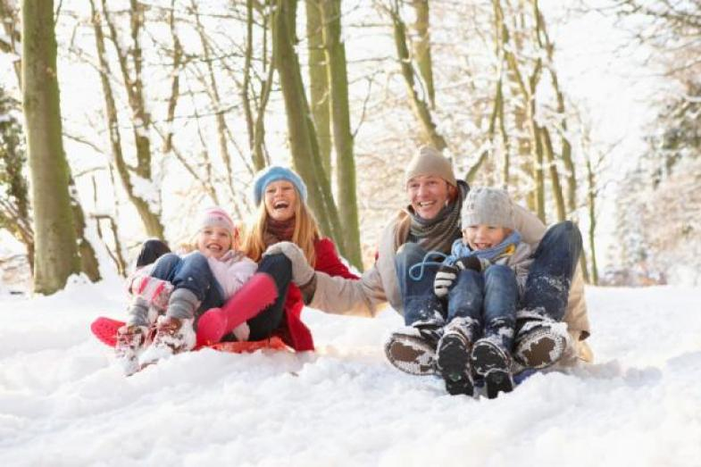 Family winter sledging activity
