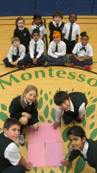 Students using hands on learning method in private school