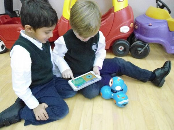 Dash and Dot robots being used by Kindergarten students at RMS Private School