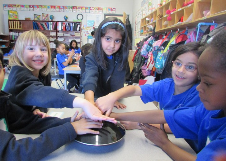 Students at RMS Private School in Brampton during scientist in the school