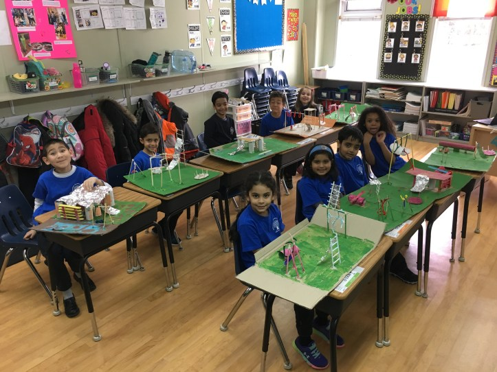 Grade 1 stuents at RMS private school in Brampton problem solving through the use of manipulatives