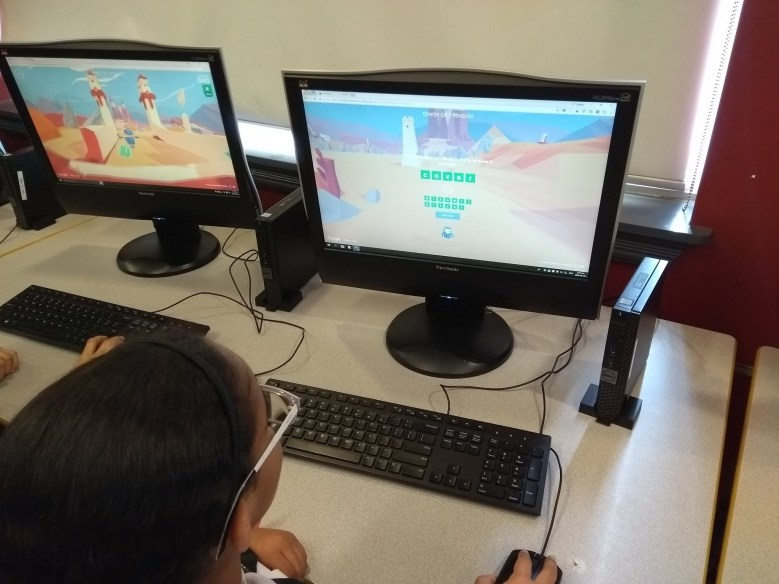 Student playing Interland and learning about digital citizenship at RMS private school in Brampton