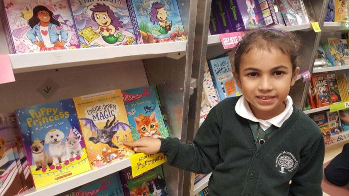 Student at RMS book fair at private school in Brampton