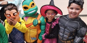 Students raising funds at dance-a-thon during Halloween at private school in Brampton