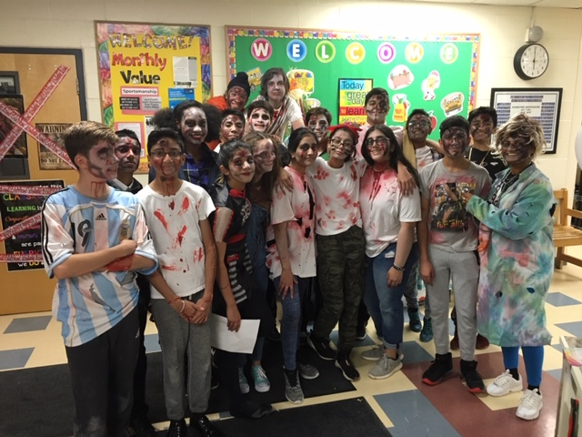 Grade 8 students at Rowntree Montessori Schools dressed as zombies for Halloween