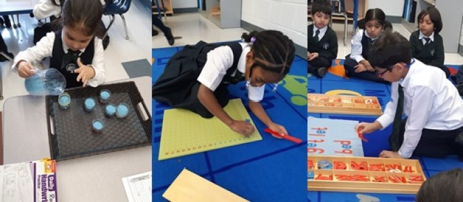 Kindergarten students using Montessori materials at Rowntree Montessori Schools Private School in Brampton