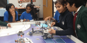 Girls using robotics at Rowntree Montessori Schools in Brampton