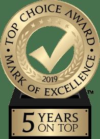 Top Choice Awards 2019 logo - 5 years on Top