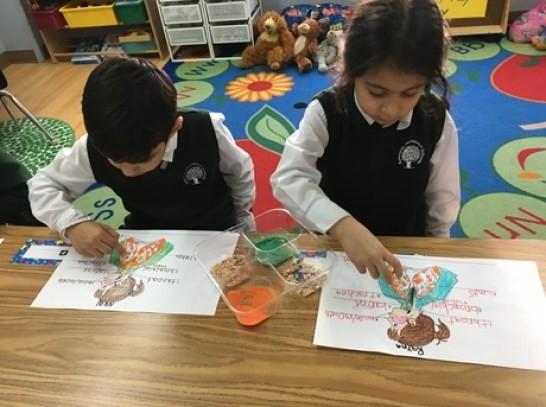 Prep-ONE students at the Central Park campus working on an activity about the human respiratory system