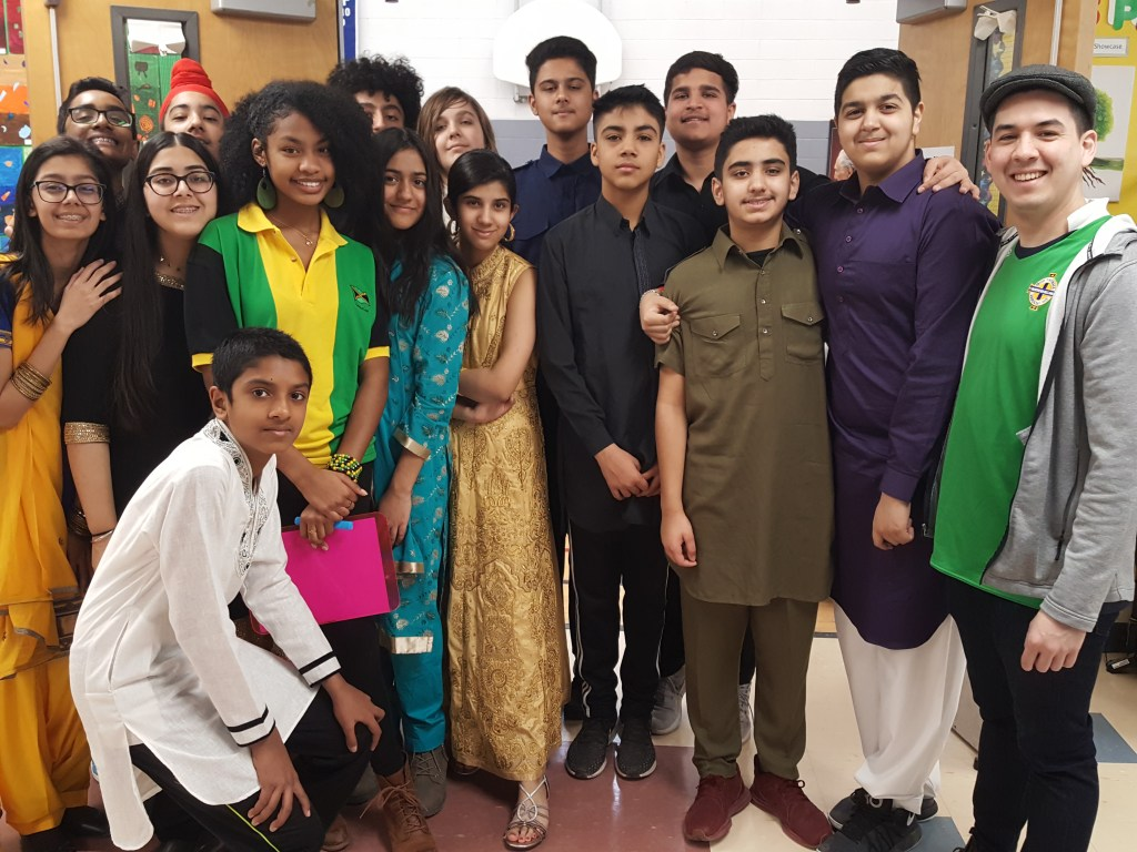 Grade 8 students from Rowntree Montessori Schools private school in Brampton dressed in cultural attire on International Day 2019.