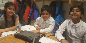 Students working on writing and spelling at RMS in Grade 5