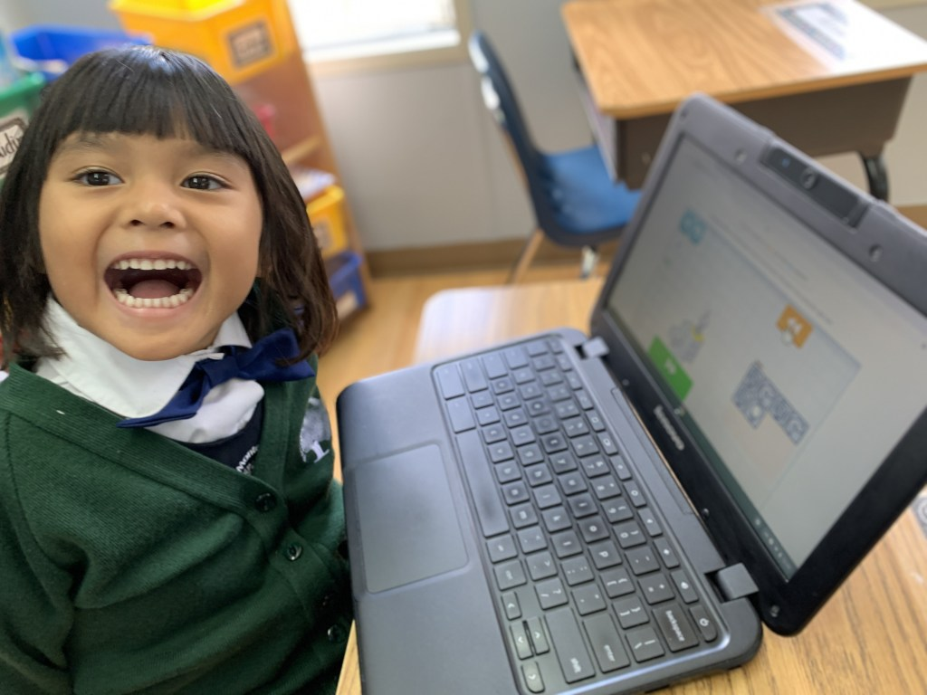 A JK student learning to post