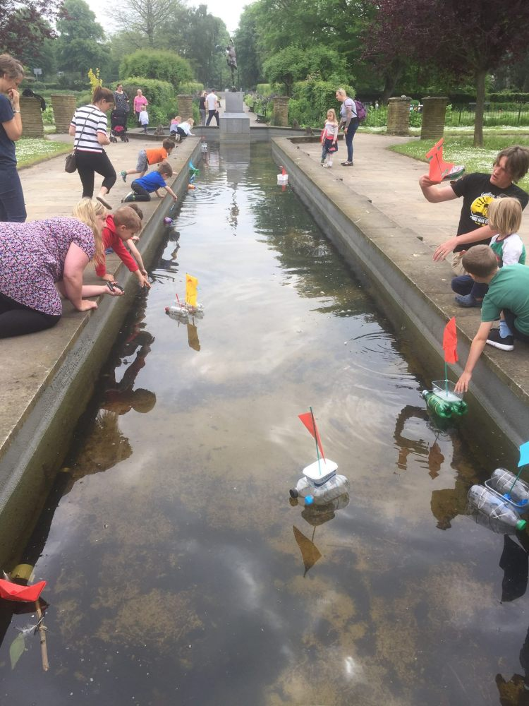 Rowntree Park children events boat making recycled