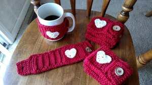Valentine's Day mug cozies