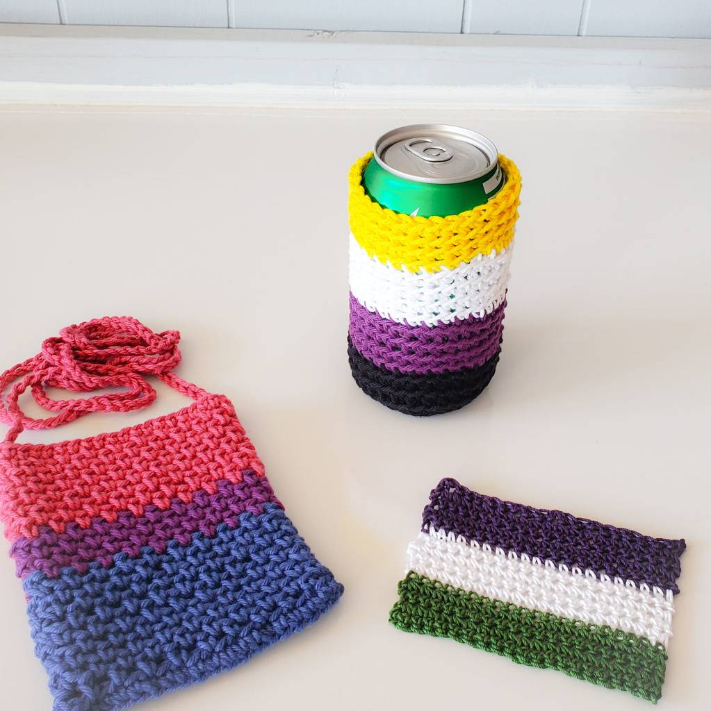 Pride bag in bisexual, Dad's Can Cozy in non-binary, and flag in genderqueer colors.