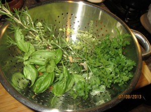 Herbs in strainer