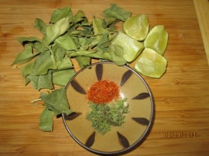 limes and kafir leaves for chicken