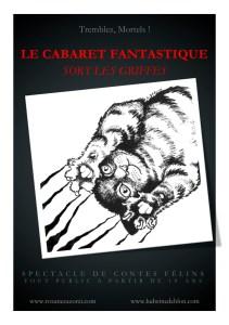 """Affiche pour le spectacle """"Le Cabaret Fantasique sort les griffes"""", par Ludwine Deblon"""