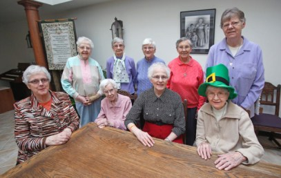Presentation Sisters, from left, Katherine Fennell, Getrude Connolly, Mary T. Fenton, Pauline Egan, Peggy Byrne, Josephine Brennan, Olivia Scully, Agatha Lucey and Anne Frawley all came to Fargo from Ireland. David Samson / The Forum