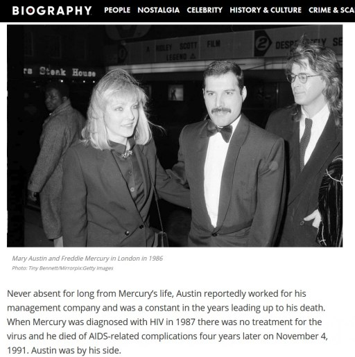Love of (his) life,' Mary Austin, illumines Freddie Mercury tragedy